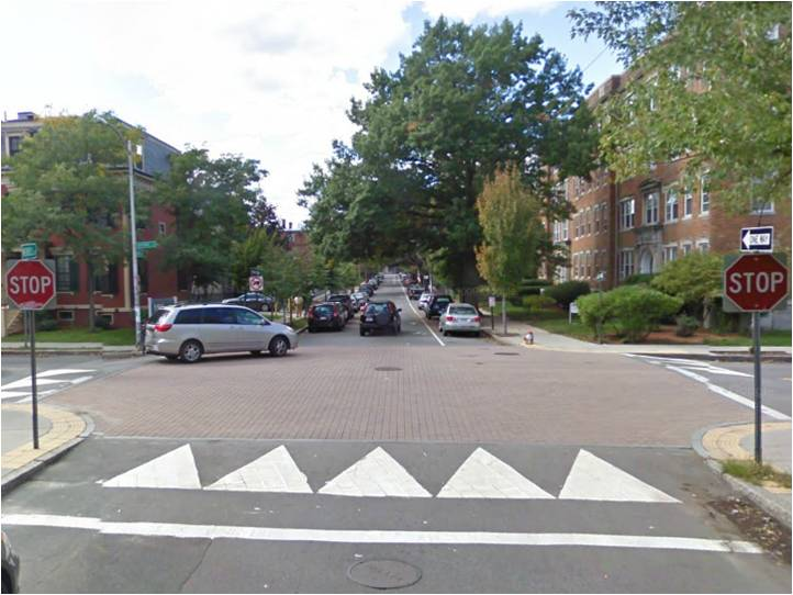 "A raised intersection involves elevating the surface of an intersection to be at grade with existing sidewalks. They are useful in creating a safe ""shared-zone"" where pedestrian and bicycle safety is enhanced."